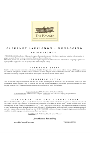 2014 FORAGER Mendocino Cabernet Sauvignon  Technical Notes