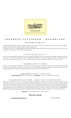 2016 FORAGER Mendocino Cabernet Sauvignon Technical Notes