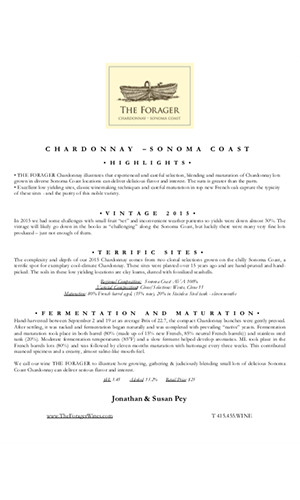 2015 FORAGER Sonoma Coast Chardonnay Technical Notes