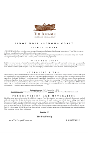 2015 FORAGER Sonoma Coast Pinot Noir Technical Notes