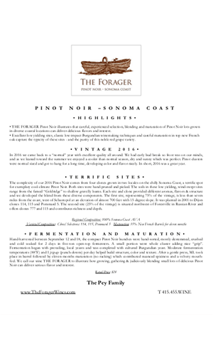 2016 FORAGER Sonoma Coast Pinot Noir Technical Notes