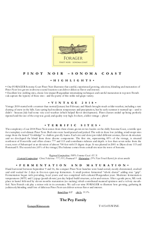 2018 FORAGER Sonoma Coast Pinot Noir Technical Notes