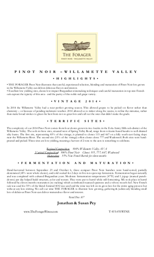 2014 FORAGER Willamette Valley Pinot Noir Technical Notes