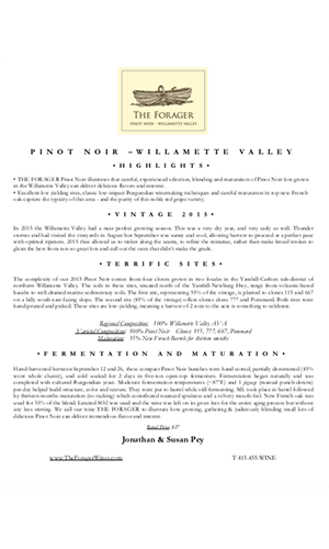 2015 FORAGER Willamette Valley Pinot Noir Technical Notes