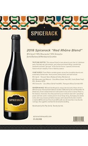 2018 Spicerack Vineyards Red Rhône Cuvée Technical Notes