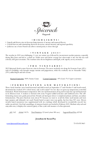 2015 Spicerack Vineyards Syrah Technical Notes